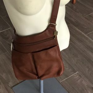 Fossil Brown All Leather Crossbody